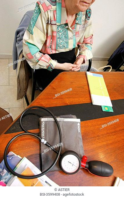 Photo essay from doctor's office. Merville, France. Consultation for hypertension. Renewal and adaptation of the treatment