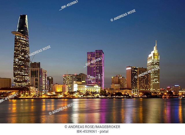 Skyline Saigon, downtown with Bitexo Tower, District 1, Dusk, Ho Chi Minh City, Vietnam