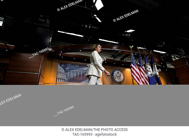 Democratic Leader Rep. Nancy Pelosi (D-CA) walks to the podium during her weekly press conference at the U.S. Capitol