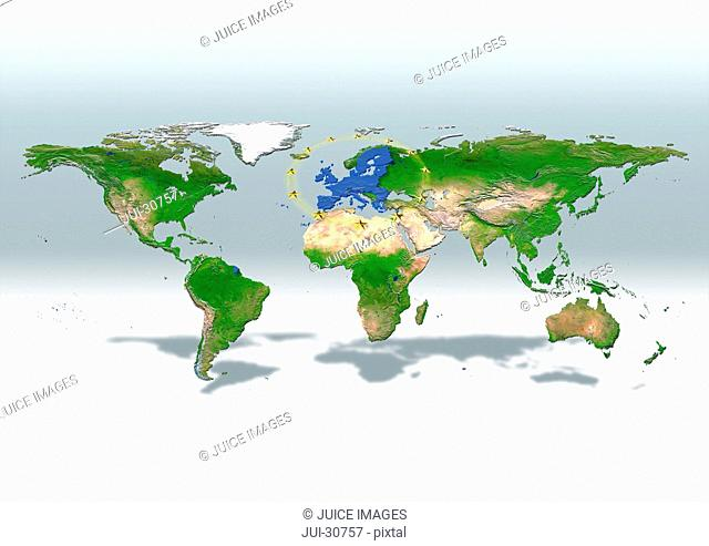 map, world, europe centered, physical, grey white, EU stars