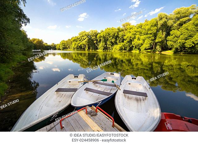 Boat station on the lake water river recreation, Russia