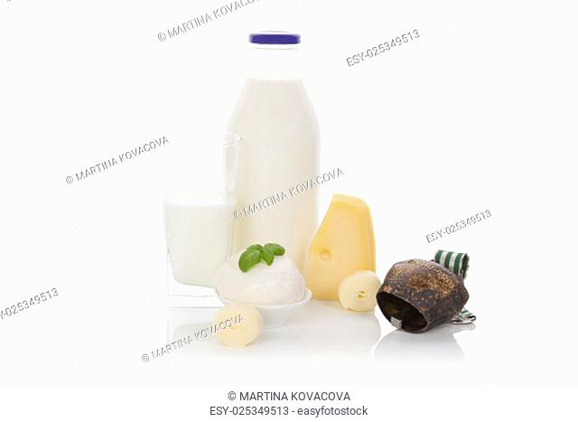 Milk, cheese, mozzarella, curd isolated on white background. Culinary traditional dairy products