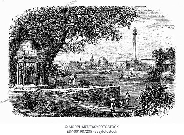 Government House , Ochterlony Monument, Calcutta, India, old engraved illustration of Government House and Ochterlony Monument, Calcutta, India, 1890s