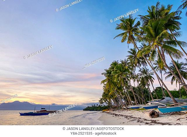 Paliton Beach at sunset, San Juan, Siquijor Island, Central Visayas, Philippines