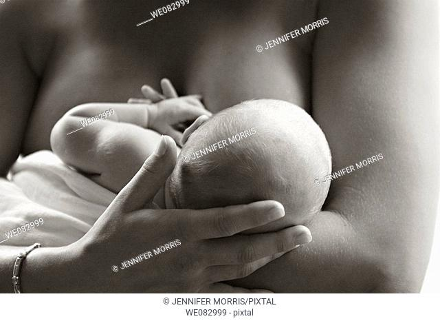 A topless mother tenderly strokes her newborn baby's head as she breastfeeds him