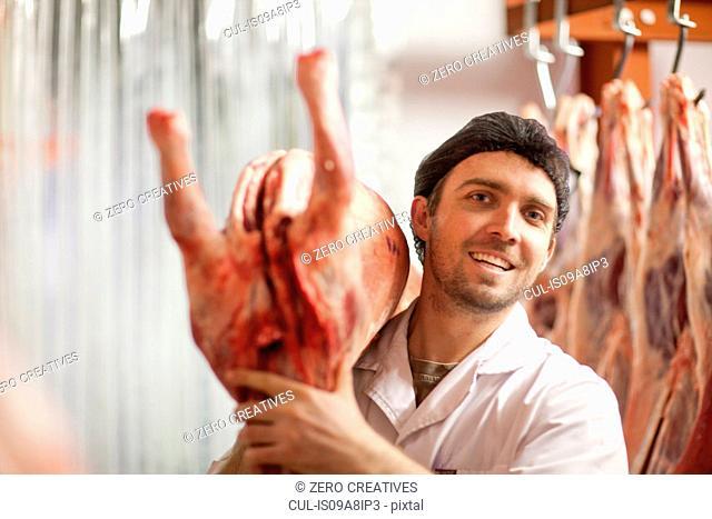 Butcher holding carcass over shoulder