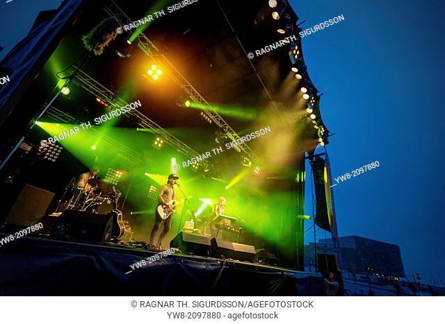 Performing outdoors during Cultural Night (Menningarnott), Reykjavik, Iceland