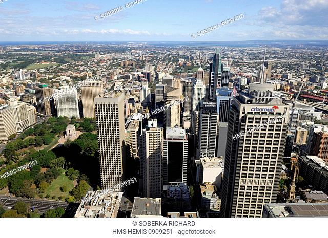 Australia, New South Wales, Sydney, buildings of the downtown and Hyde Park
