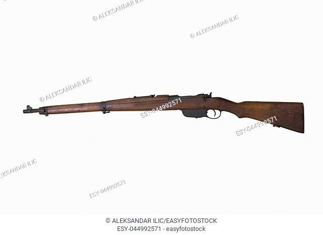 Steyr M1895 Rifle Also Known as Steyr-Mannlicher M95 Straight Pull Rifle Isolated On White Background