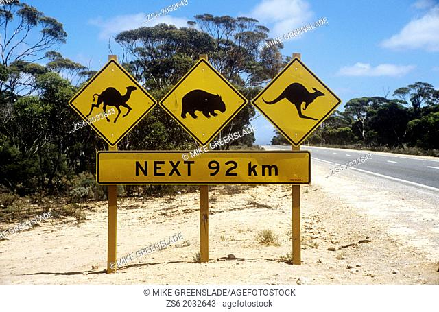 Road warning sign, Nullabor Plains, South Australia