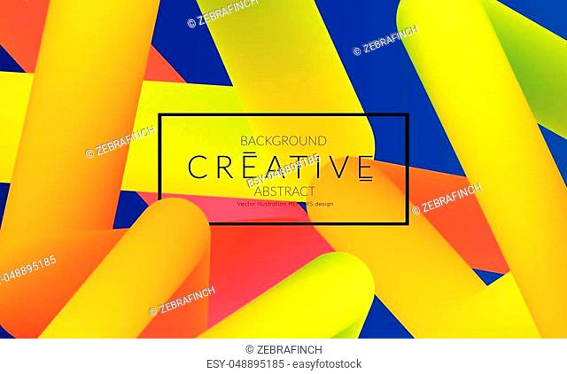 Abstract 3d liquid fluid color shape. Creative Modern vertical social media banner template. Bright neon gradient blend creating innovative 3D effect