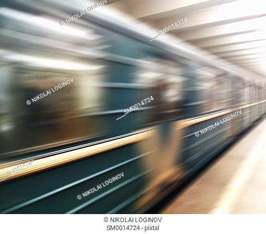 Diagonal motion blur metro train background hd