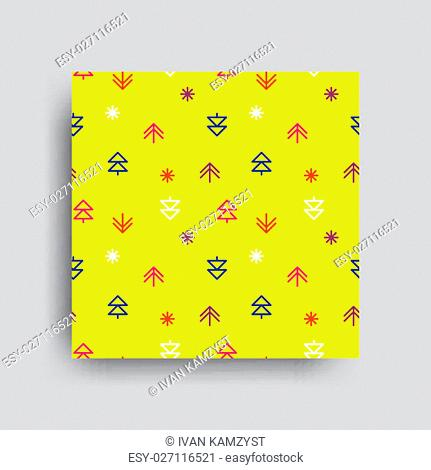 Vector decorative seamless pattern. Merry Christmas and Happy New Year. Winter holiday design backgrounds illustration. Green Orange Yellow Blue White