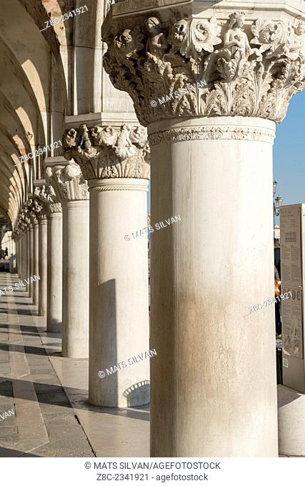 Columns in a row in San Marco square in a sunny day in Venice, Italy