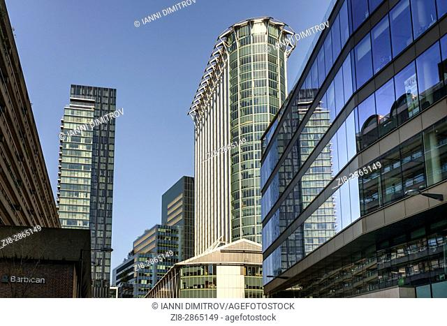 Modern Office Buildings at the Barbican in the financial district,City of London,England