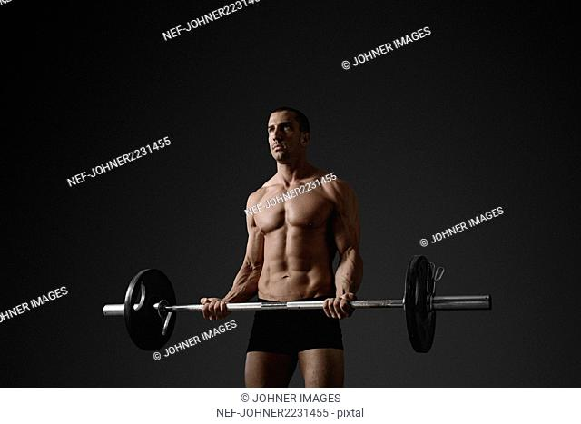 Man with barbell