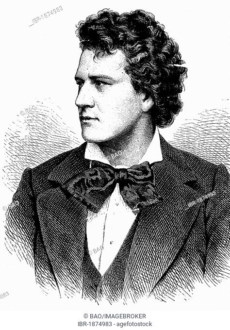 Ludwig Barnay, actually Ludwig White, 1842-1924, theater director and hero performer, historical illustration, circa 1886