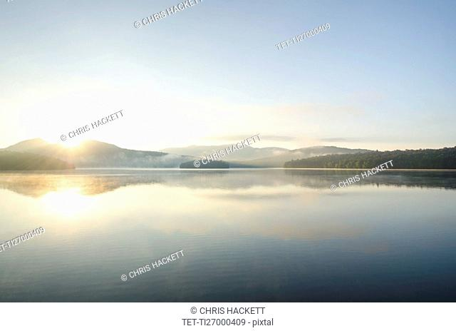 USA, New York, St. Armand, Lake Placid at sunrise