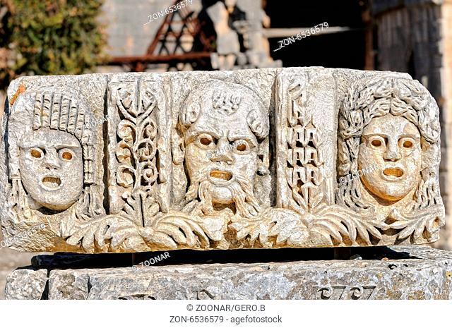 Myra theater masks Turkey