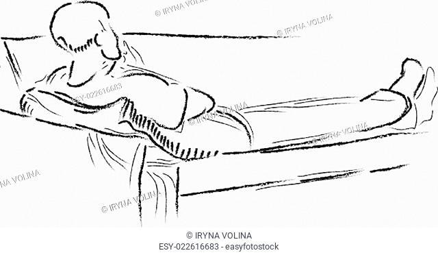 Sketch of a lying man