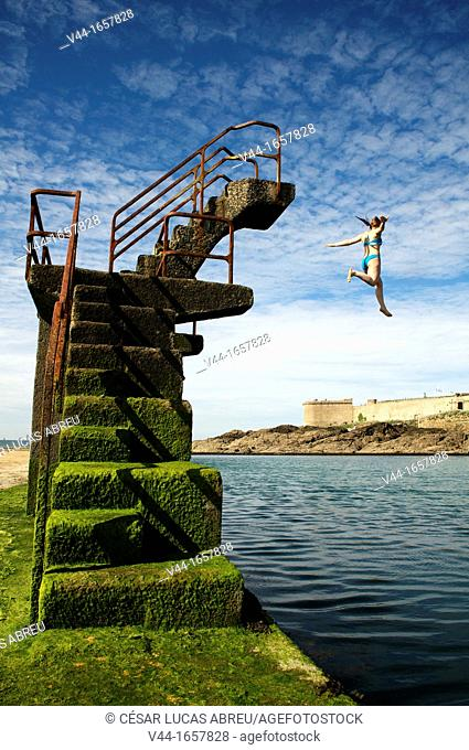 Seawater pool on the beach at Bon Secours, Saint Malo, Ille-et-Vilaine, Brittany, France