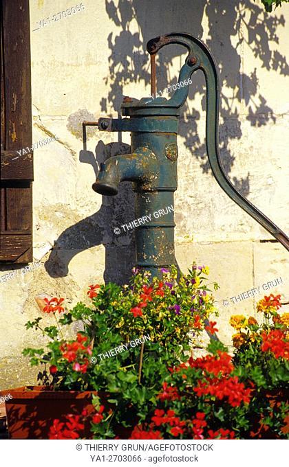 France, Meuse (55), village of Beaulieu en Argonne, old manuel water pump