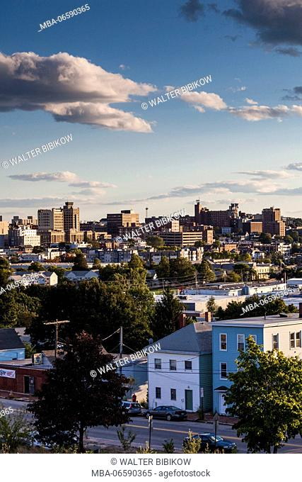 USA, Maine, Portland, skyline from Munjoy Hill, sunset