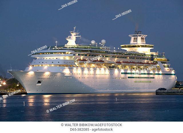 Bahamas, New Providence Island, Nassau: Port of Nassau, Cruise Ship, Evening