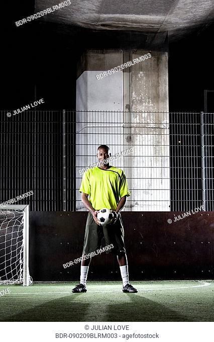 portrait of street football player