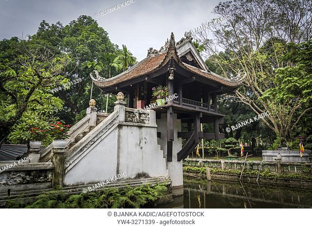 One Pillar Pagoda, a historic Buddhist temple built during Ly Dynasty in the 11th century, Hanoi, Vietnam