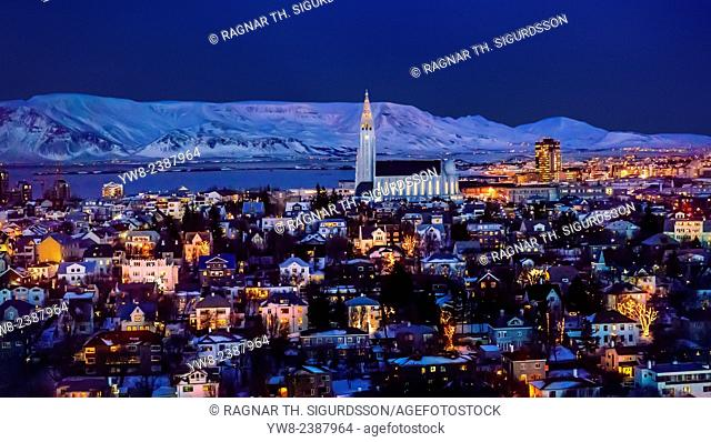 Aerial view of Reykjavik with Hallgrimskirkja Church in the wintertime, Iceland
