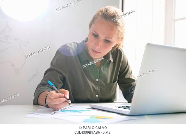 Young businesswoman making notes and using laptop at office desk