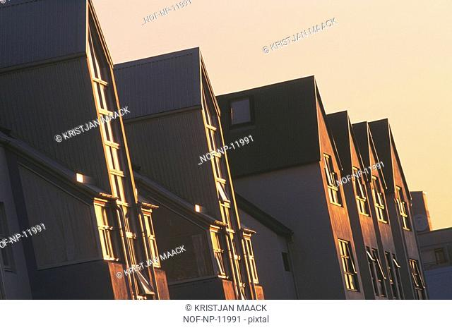 A row of houses in the sun