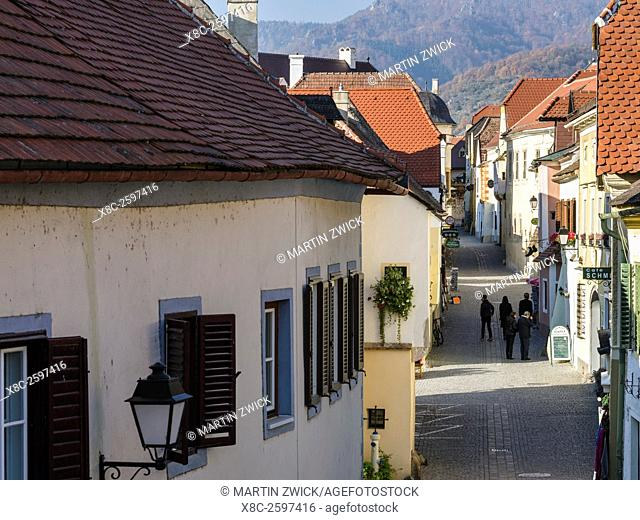 The medieval old town of Duernstein, an icon of the Wachau area. The Wachau is a famous vineyard and listed as Wachau Cultural Landscape as UNESCO World...