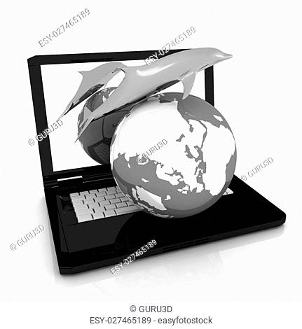 Golden Dolphin from the laptop. Global concept