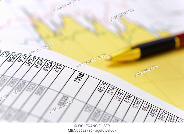 Finances, stock exchange and stocks with chart, diagram and number table