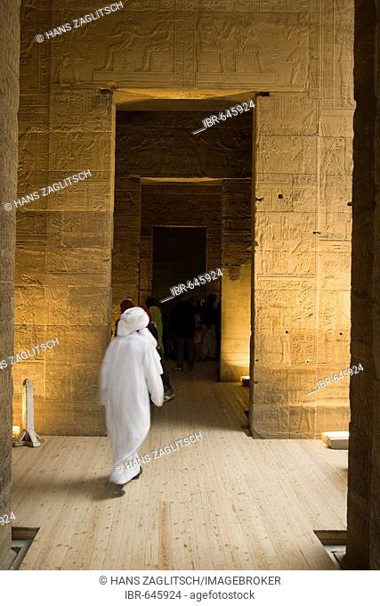 Temple of Isis, Inner Sanctuary of Isis, Philae or Agilkia Islands, Aswan or Assuan, Nile Valley, Egypt, Africa
