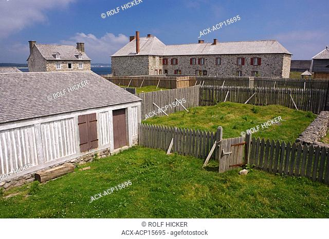Overlooking buildings from the Construction Techniques exhibit at the Fortress of Louisbourg, Louisbourg National Historic Site, Highway 22, Fleur de lis Trail