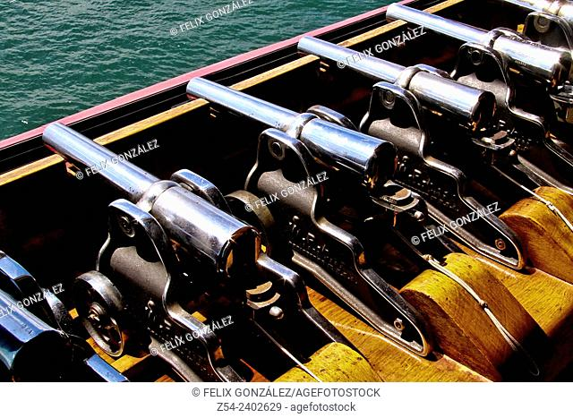 Cannons, starting signal, for race starts line, Santander, Cantabria, Spain