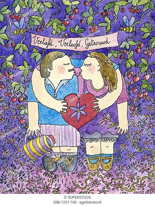 Love is Blooming Inez Nickmans b.1960/Belgian Watercolor/Pen & Ink