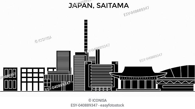 Japan, Saitama architecture vector city skyline, black cityscape with landmarks, isolated sights on background