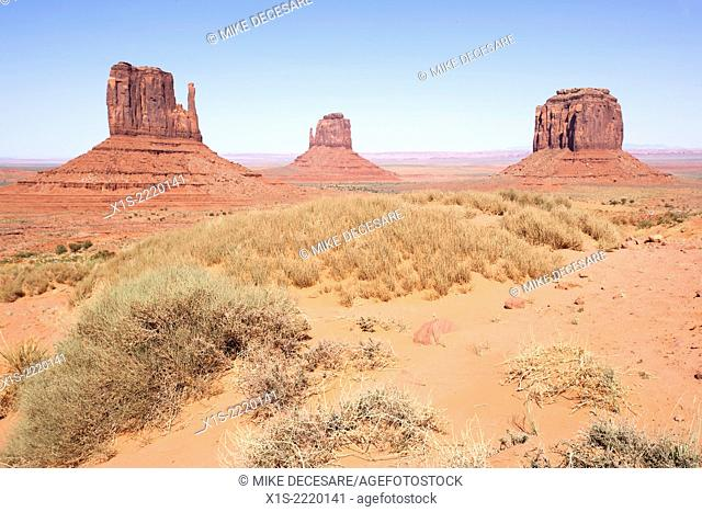 Iconic mittens and buttes and desert vegetation in the iconic Monument Valley attract visitors from all over the world