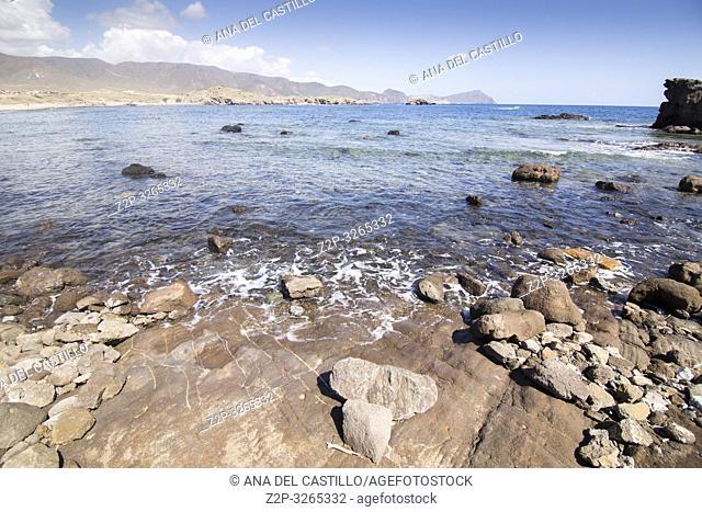 Volcanic landscape coast in Cabo de Gata natural park Almeria, Andalusia, Spain