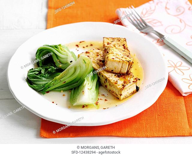Flash fried tofu with lemon, chili and bok choy