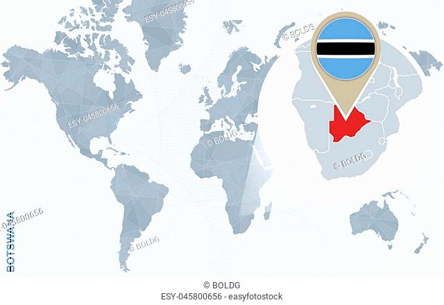 Abstract blue world map with magnified Botswana. Botswana flag and map. Vector Illustration