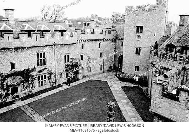 Aerial view of Atlantic College (United World College of the Atlantic), St Donat's Castle, Llantwit Major, Glamorgan, South Wales