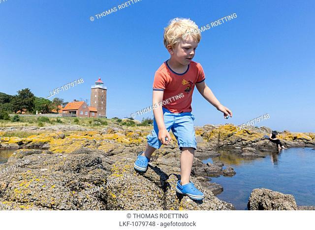 boy jumping from rock to rock along the shore near Hullehavn Camping, lighthouse, Summer, Baltic sea, MR, Bornholm, Svaneke, Denmark, Europe