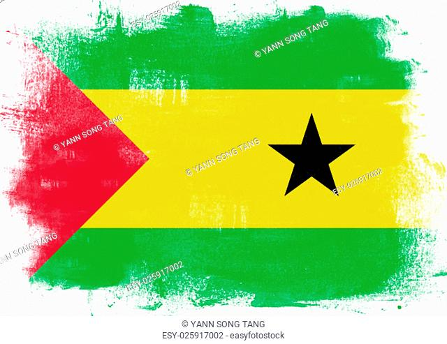 Flag of Sao Tome and Principe painted with brush on solid background