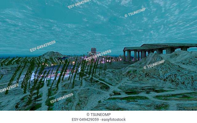 3D CG rendering of the underwater city