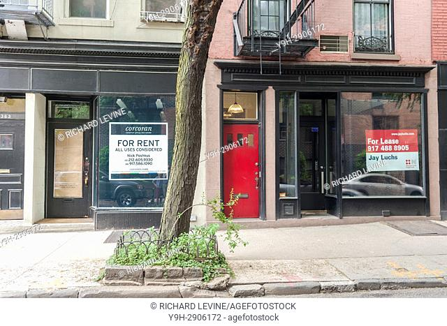 Empty real estate on trendy Bleecker Street in the Greenwich Village neighborhood of New York